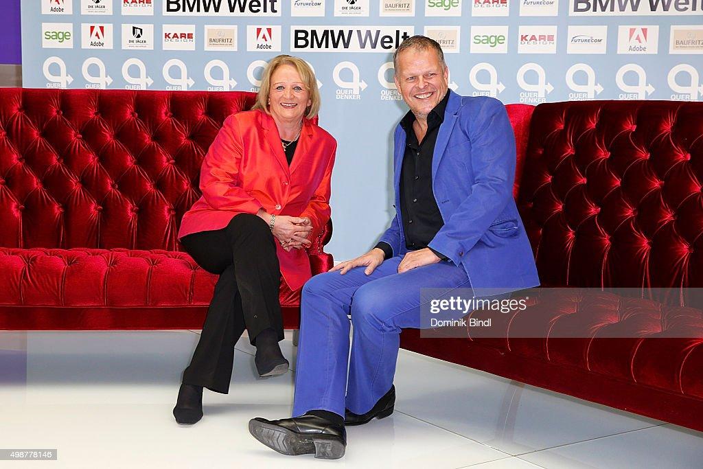 Sabine Leutheusser-Schnarrenberger and Karsten Kaie attend the Querdenker Award 2015 at BMW World on November 25, 2015 in Munich, Germany.
