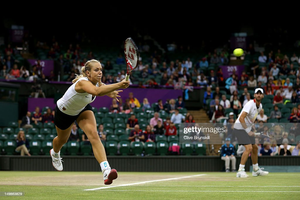 Sabine Lisicki of Germany and Christopher Kas of Germany in action during the Mixed Doubles Tennis bronze medal match against as Lisa Raymond of the...