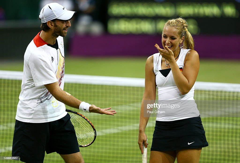 Sabine Lisicki of Germany and Christopher Kas of Germany react during the Mixed Doubles Tennis bronze medal match against as Lisa Raymond of the...