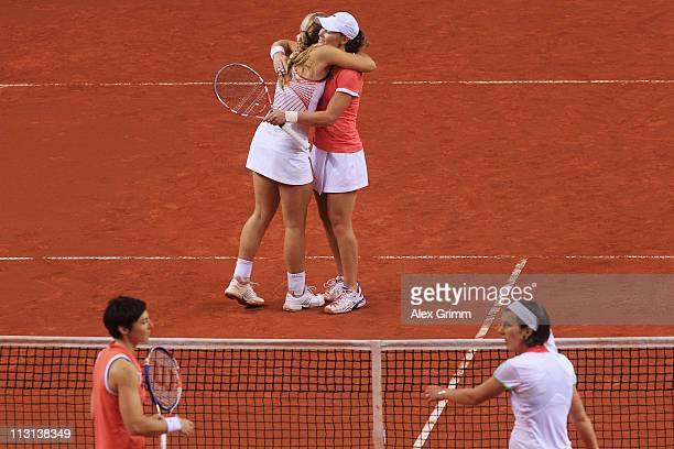 Sabine Lisicki of Germany and Samantha Stosur of Australia celebrate after winning their Doubles Final match against Kristina Barrois and Jasmin...