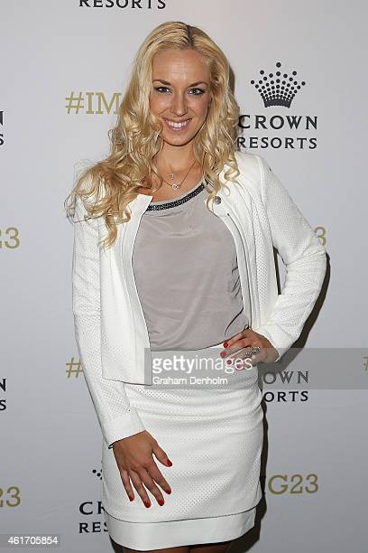 Sabine Lisicki of Germany arrives for Crown's IMG@23 Tennis Players' Party at Crown Entertainment Complex on January 18 2015 in Melbourne Australia