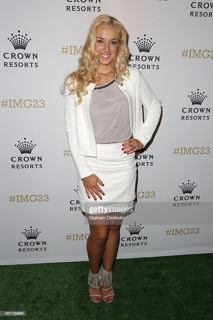 Sabine Lisicki of Germany arrives for Crown's IMG@23 Tennis Players' Party at Crown Entertainment Complex on January 18, 2015 in Melbourne, Australia.