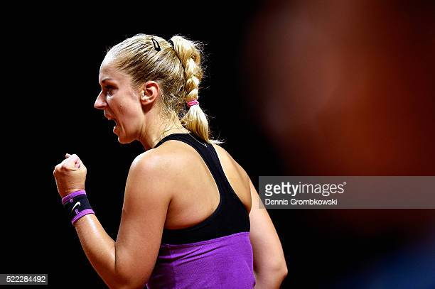 Sabine Lisicki of Germany celebrates a point during her match against Timea Babos of Hungary during Day 1 of the Porsche Tennis Grand Prix at...
