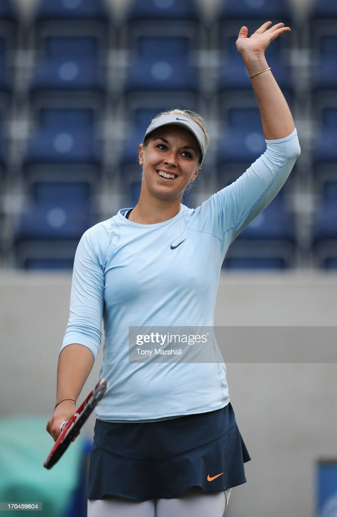 <a gi-track='captionPersonalityLinkClicked' href=/galleries/search?phrase=Sabine+Lisicki&family=editorial&specificpeople=645395 ng-click='$event.stopPropagation()'>Sabine Lisicki</a> of Germany celebrates victory in her Women's Singles third round match against Mirjana Lucic-Baroni of Croatia during day five of the AEGON Classic tennis tournament at Edgbaston Priory Club on June 13, 2013 in Birmingham, England.