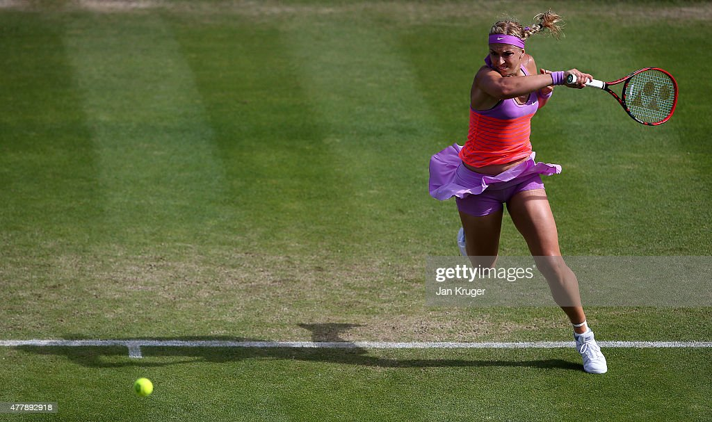 Sabine Lisicki of Germany in action against Angelique Kerber of Germany in their semi final match on day six of the Aegon Classic at Edgbaston Priory Club on June 20, 2015 in Birmingham, England.