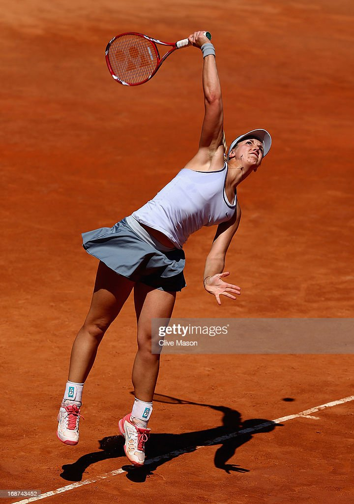 Sabine Lisicki of Germany in action during her first round match against Petra Kvitova of the Czech Republic during day three of the Internazionali BNL d'Italia 2013 at the Foro Italico Tennis Centre on May 14, 2013 in Rome, Italy.