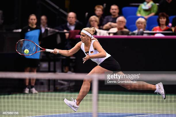 Sabine Lisicki of Germany in action during the Fed Cup 2015 World Group First Round tennis between Germany and Australia at PorscheArena on February...