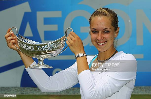 Sabine Lisicki of Germany pictured with the Maude Watson trophy after she defeated Daniela Hantuchova of Slovakia in the Ladies Final during day...