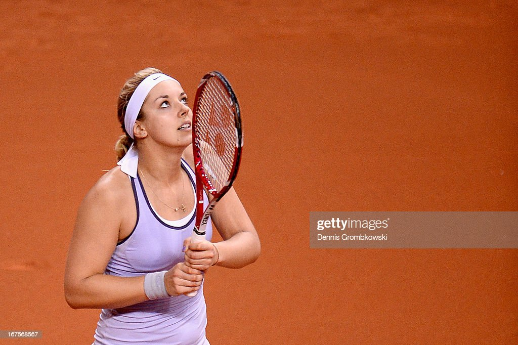 Sabine Lisicki of Germany reacts during her match against Bethanie Mattek-Sands of the United States during Day 5 of the Porsche Tennis Grand Prix at Porsche-Arena on April 26, 2013 in Stuttgart, Germany.