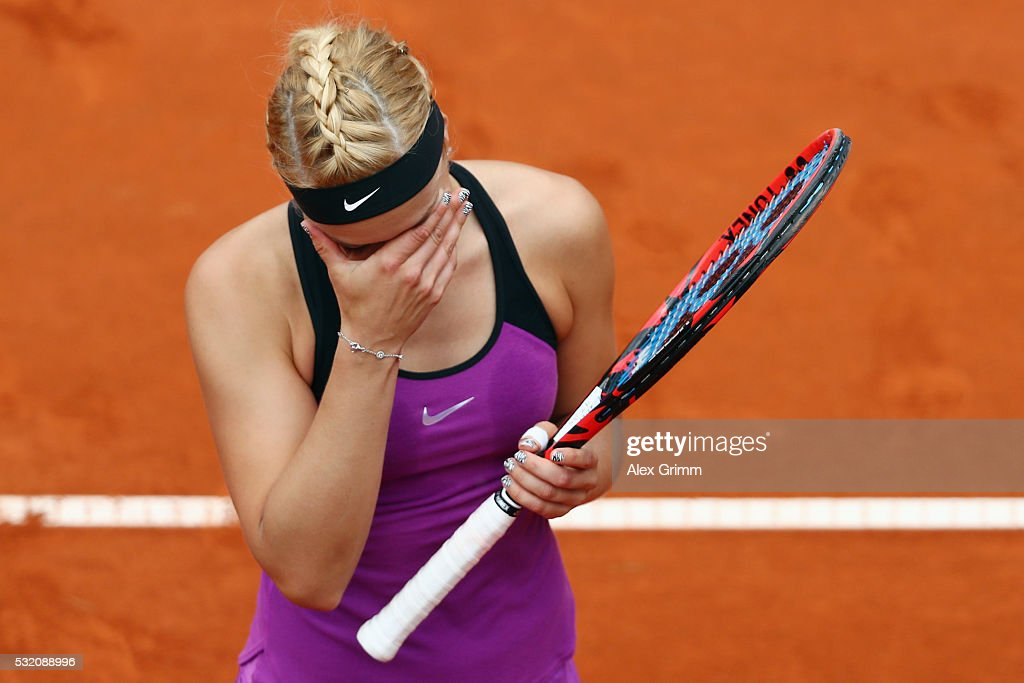 <a gi-track='captionPersonalityLinkClicked' href=/galleries/search?phrase=Sabine+Lisicki&family=editorial&specificpeople=645395 ng-click='$event.stopPropagation()'>Sabine Lisicki</a> of Germany reacts during her match against Varvara Lepchenko of USA during day five of the Nuernberger Versicherungscup 2016 on May 18, 2016 in Nuremberg, Germany.