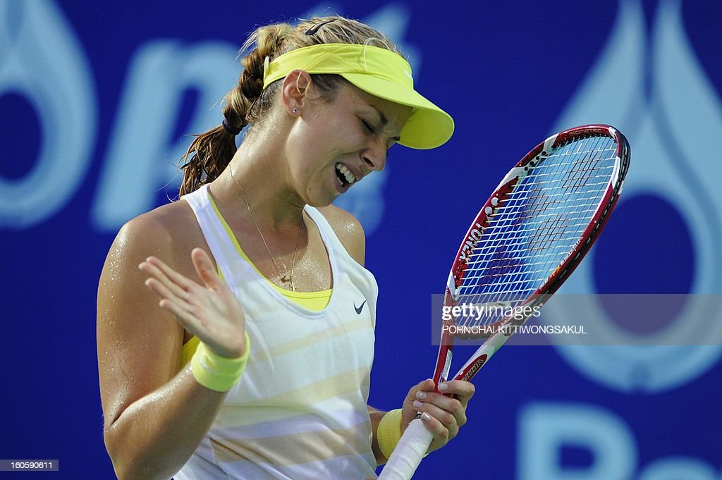 Sabine Lisicki of Germany reacts in her game against Maria Kirilenko of Russia during the tennis women's singles final of the WTA Pattaya Open tennis tournament in Pattaya resort on February 3, 2013. Kirilenko beat Lisicki 7-5, 1-6, 6-7. AFP PHOTO/PORNCHAI KITTIWONGSAKUL