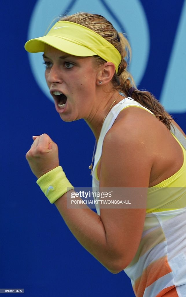 Sabine Lisicki of Germany reacts in her game against Nina Bratchikova of Russia during the tennis women's singles semi-final round of the WTA Pattaya Open tennis tournament in Pattaya on February 2, 2013.