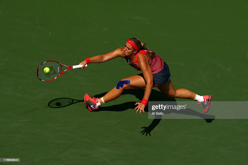 Sabine Lisicki of Germany returns a shot during her women's singles third round match against Ekaterina Makarova of Russia on Day Five of the 2013 US Open at USTA Billie Jean King National Tennis Center on August 30, 2013 in the Flushing neighborhood of the Queens borough of New York City.