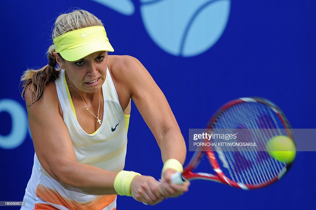 Sabine Lisicki of Germany returns a shot to Maria Kirilenko of Russia during the tennis women's singles final of the WTA Pattaya Open tennis tournament in Pattaya resort on February 3, 2013. Kirilenko beat Lisicki 7-5, 1-6, 6-7.