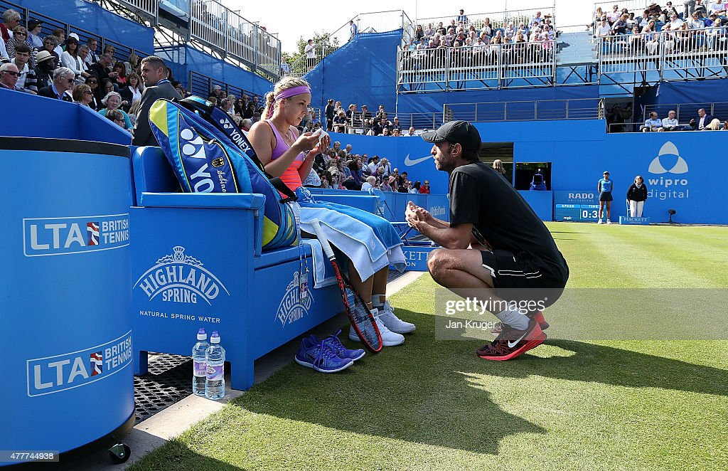 Sabine Lisicki of Germany speaks to her coach Christopher Kas in her quarter final match over Daniela Hantuchova of Slovakia on day five of the Aegon...