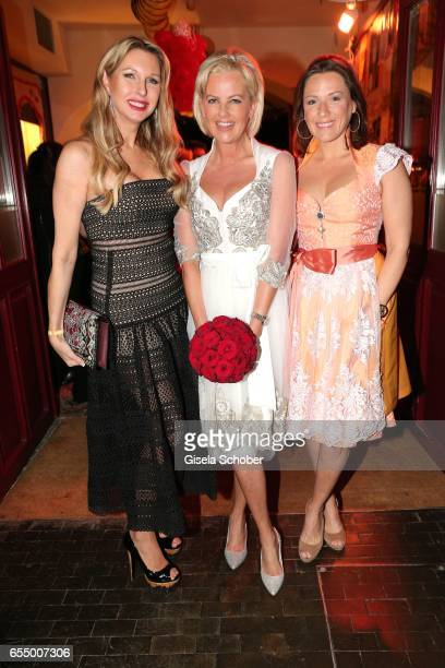 Sabine Piller bride Astrid Soell and Simone Ballack during the wedding party of dirndl fashion designer Astrid Soell and Volker Woehrle at restaurant...
