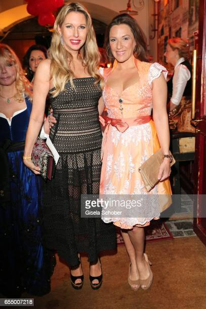 Sabine Piller Simone Ballack wearing a dirndl by Astrid Soell during the wedding party of dirndl fashion designer Astrid Soell and Volker Woehrle at...