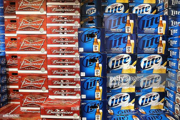 SABMiller and AnheuserBusch InBev products are offered for sale on September 15 2014 in Chicago Illinois Share of SABMiller have surged to an alltime...