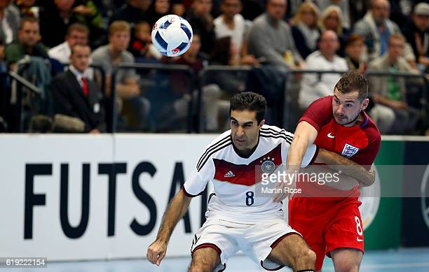 Saboor Khalili of Germany and Luke Ballinger of England battle for the ball during the Futsal International Friendly match between Germany and...
