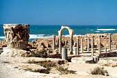 Sabratha; Libya: temple of Serapis, Roman capital and the Mediterranean sea - UNESCO World Heritage Site