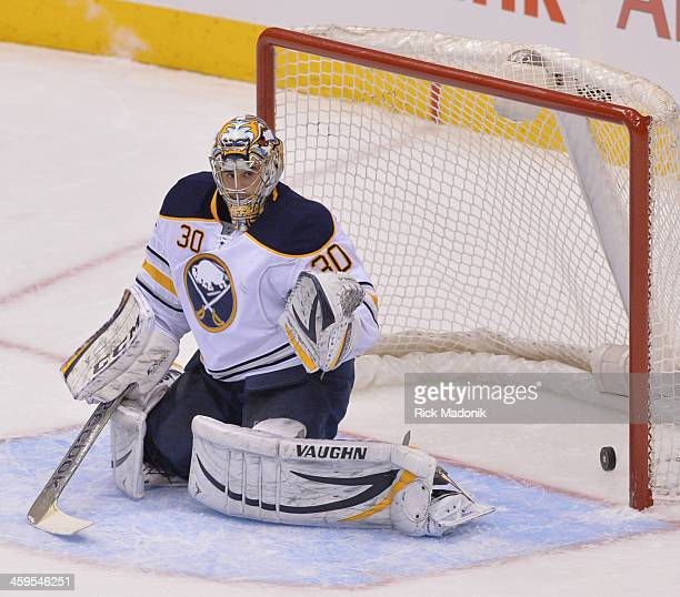 TORONTO DECEMBER 27 Sabre goalie Ryan Miller allows the Leaf first goal Toronto Maple Leafs vs Buffalo Sabres during 2nd period NHL action on...