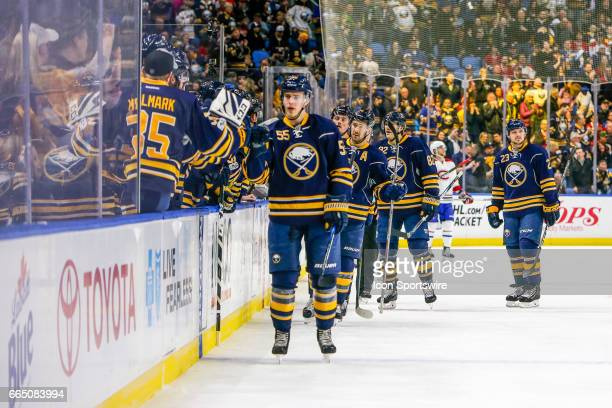 Sabres teammates and fans congratulate Buffalo Sabres Defenseman Rasmus Ristolainen after goal during the Montreal Canadiens and Buffalo Sabres NHL...