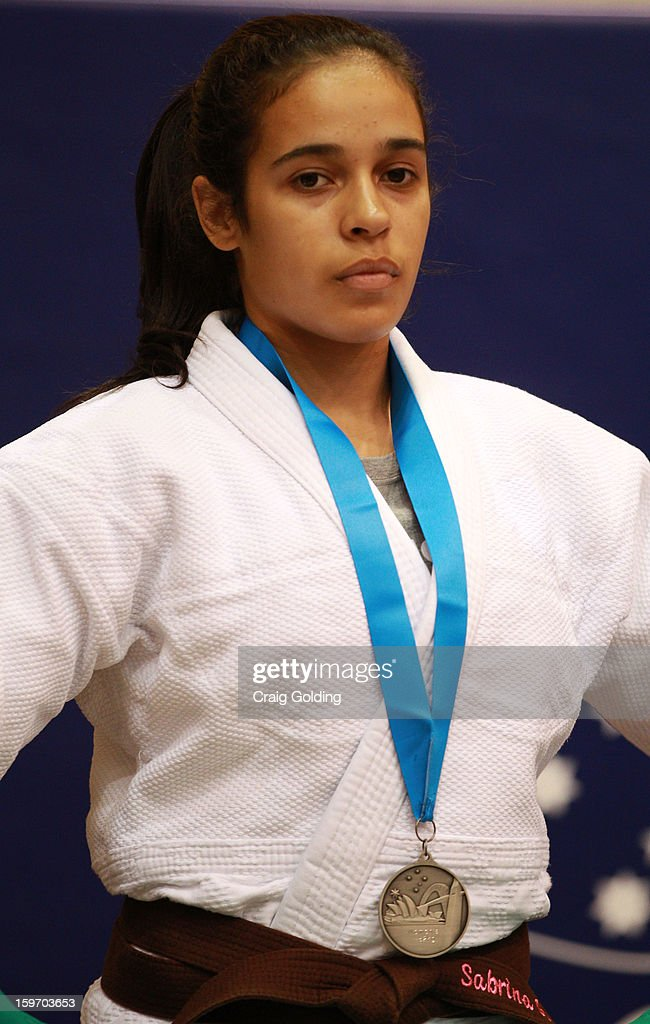 Sabrina Araujo of Brazil wins the silver medal in the cadet womens -52 kg division of the Judo event in the Sports Halls during day four of the Australian Youth Olympic Festival at Sydney Olympic Park Sports Centre on January 19, 2013 in Sydney, Australia.
