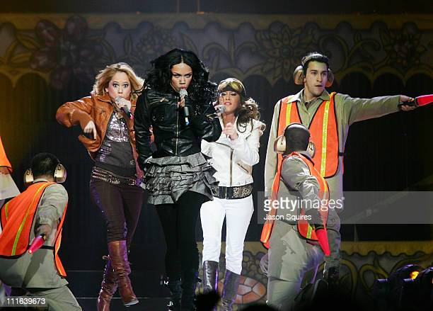 Sabrina Bryan Kiely Williams and Adrienne Bailon of The Cheetah Girls perform at Sprint Center on December 9 2008 in Kansas City Missouri
