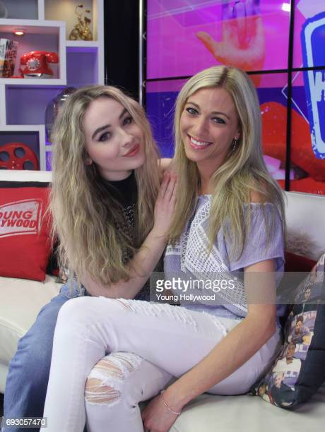 Sabrina Carpenter and host Tracy Behr at the Young Hollywood Studio on June 5 2017 in Los Angeles California