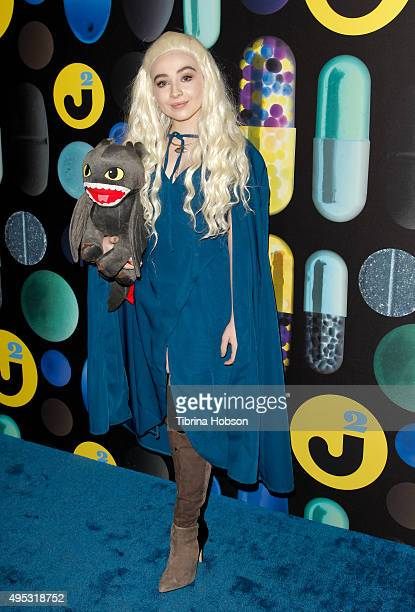 Sabrina Carpenter attends the Just Jared Halloween Party at No Vacancy on October 31 2015 in Los Angeles California
