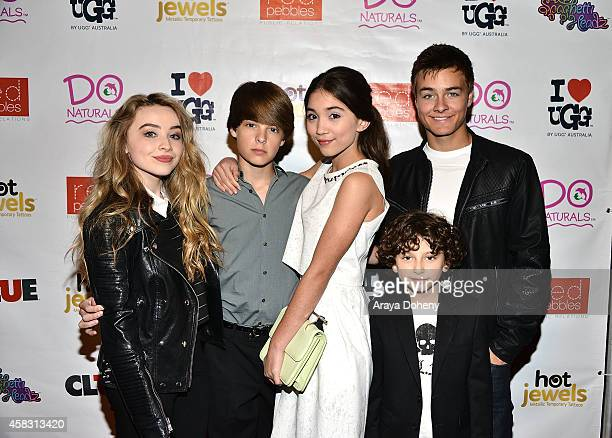 Sabrina Carpenter Corey Fogelmanis Rowan Blanchard August Maturo and Peyton Meyer celebrate Rowan Blanchard's 13th Birthday on November 2 2014 in Los...