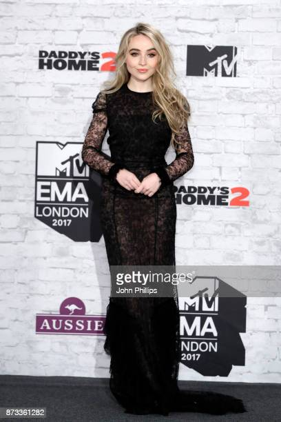Sabrina Carpenter poses in the winner's room during the MTV EMAs 2017 held at The SSE Arena Wembley on November 12 2017 in London England