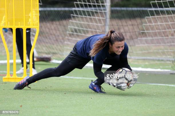 Sabrina D'Angeloduring a North Carolina Courage training session on July 27 at WakeMed Soccer Park Field 7 in Cary NC