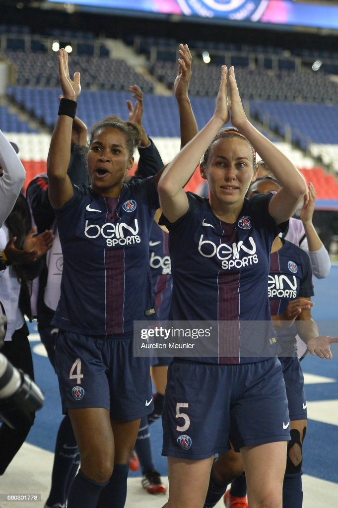 Sabrina Delannoy and Laura Georges of Paris Saint Germain in react after the victory after the Champions League match between Paris Saint Germain and Bayern Munich at Parc des Princes on March 29, 2017 in Paris, France.