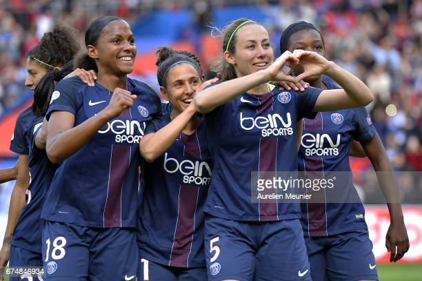 Sabrina Delannoy of Paris SaintGermain reacts after scoring during the Women's Champions League match between Paris Saint Germain and Barcelona at...