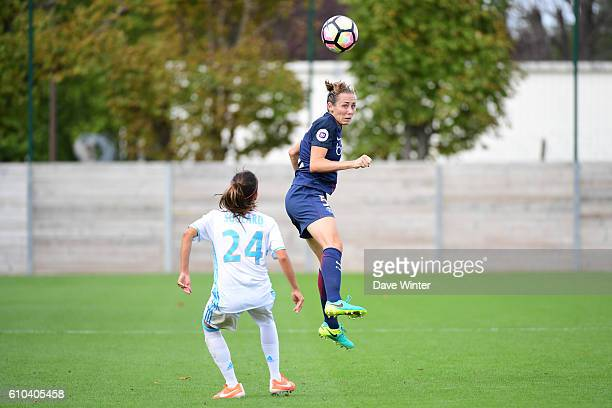 Sabrina Delannoy of PSG and Amandine Soulard of Marseille during the women's French D1 league match between PSG and Olympique de Marseille at Camp...