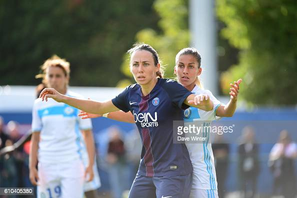 Sabrina Delannoy of PSG and Lalia Storti of Marseille during the women's French D1 league match between PSG and Olympique de Marseille at Camp des...