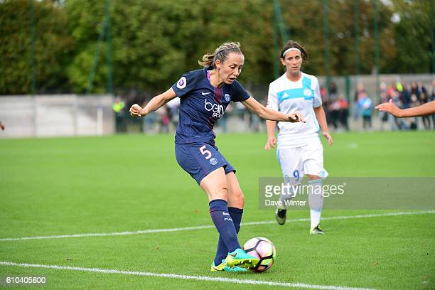 Sabrina Delannoy of PSG during the women's French D1 league match between PSG and Olympique de Marseille at Camp des Loges on September 25 2016 in...