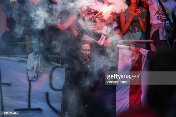 Sabrina Delannoy of PSG set off flare with fans during the women's Division 1 match between Paris Saint Germain PSG and Girondins de Bordeaux on May...