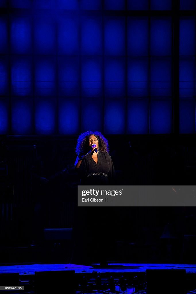 Sabrina Elayne Carten performs as a Blues Singer on the Opening Night Performace of 'One Night With Janis Joplin' at Pasadena Playhouse on March 17, 2013 in Pasadena, California.