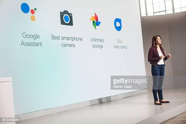 Sabrina Ellis Director of Product Management at Google Inc speaks during an event to introduce the Google Pixel phone and other Google products on...