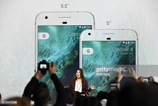 Sabrina Ellis director of product management for Google Inc discusses the Google Pixel and Pixel XL smartphones during a Google product launch event...