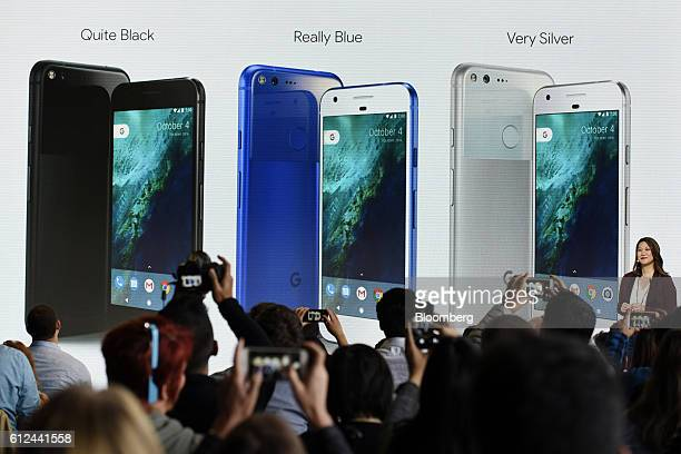 Sabrina Ellis director of product management for Google Inc discusses the colorways of Google Pixel smartphone during a Google product launch event...