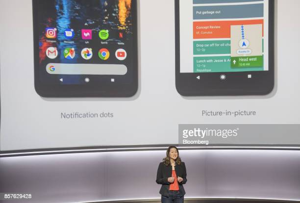 Sabrina Ellis director of product management for Google Inc speaks about the Google Pixel 2 smartphone during a product launch event in San Francisco...