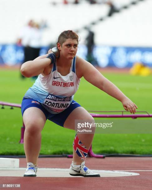 Sabrina Fortune of Great Britain compete Women's Women's Shot Put T20 Final during IPC World Para Athletics Championships at London Stadium in London...