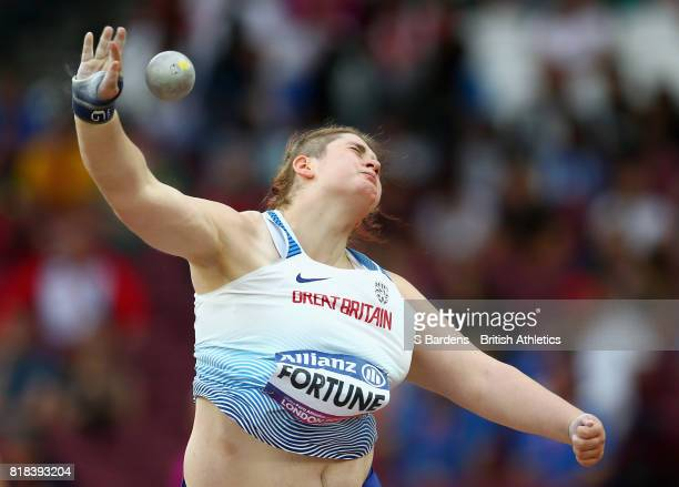 Sabrina Fortune of Great Britain competes in the Women's Shot Put F20 Final during Day Five of the IPC World ParaAthletics Championships 2017 London...
