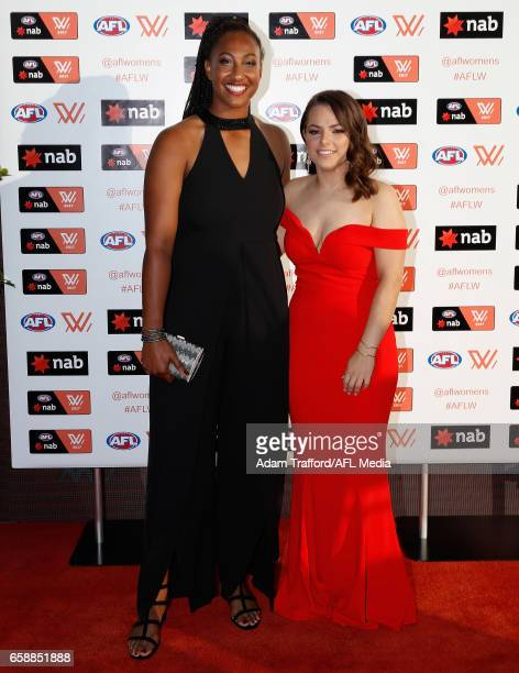 MELBOURNE AUSTRALIA MARCH Sabrina FrederickTraub of the Lions and Shannon Turner arrive during the The W Awards at the Peninsula on March 28 2017 in...