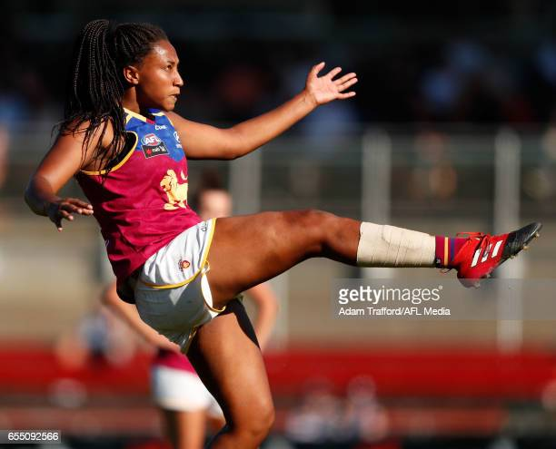 Sabrina FrederickTraub of the Lions kicks the ball during the 2017 AFLW Round 07 match between the Carlton Blues and the Brisbane Lions at Ikon Park...