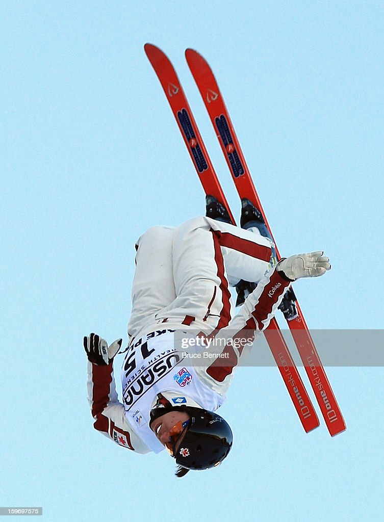 Sabrina Guerin #15 of Canada competes in the qualification round of the USANA Freestyle World Cup aerial competition at the Lake Placid Olympic Jumping Complex on January 18, 2013 in Lake Placid, New York.