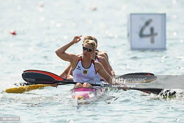 Sabrina Hering Franziska Weber Steffi Kriegerstein and Tina Dietze of Germany compete in the Women's Kayak Four 500m on Day 14 of the Rio 2016...
